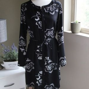 Black/White Shirt Dress with Large Floral Print